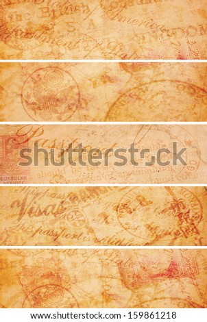 Four vintage style travel related banners created from aging paper and old 1920 travel documents. - stock photo