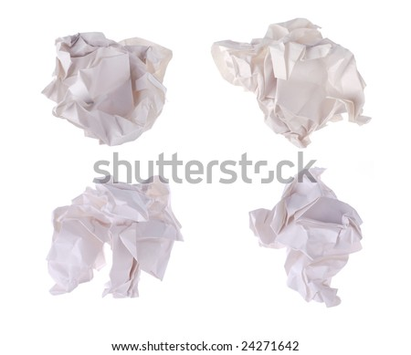 four waste papers on white background - stock photo