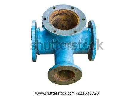 Four way plumbing pipes on white background. - stock photo