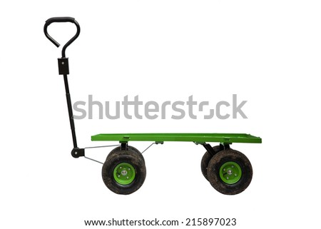 Four wheel trolley and handle isolated on white background