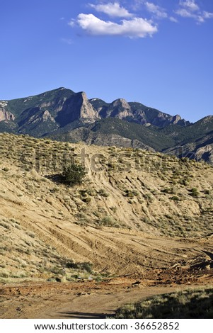 Four wheeler trails in the high desert of New Mexico. - stock photo