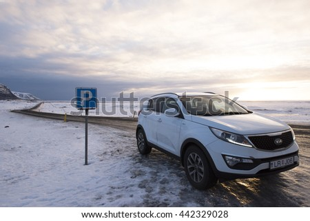 Four Wheels Drive vehicle in Iceland - December 2015, Editorial