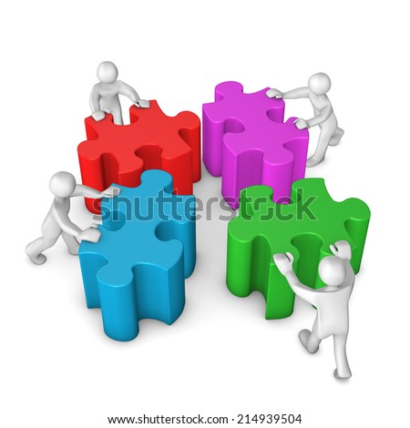 Four white cartoon characters with colored puzzle pieces. White background.