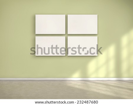 Four white frames on a room and sun light coming from a window - stock photo