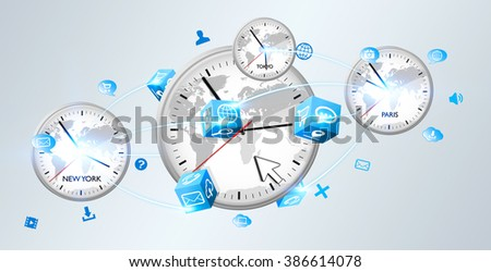 Four white timers from different countries connected to each others - stock photo