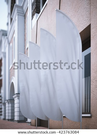 Four white vertical wind banners. 3d rendering - stock photo