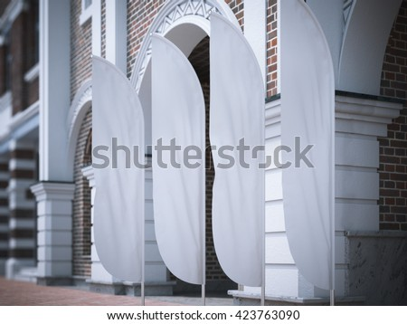 Four white vertical wind banners on the street. 3d rendering - stock photo