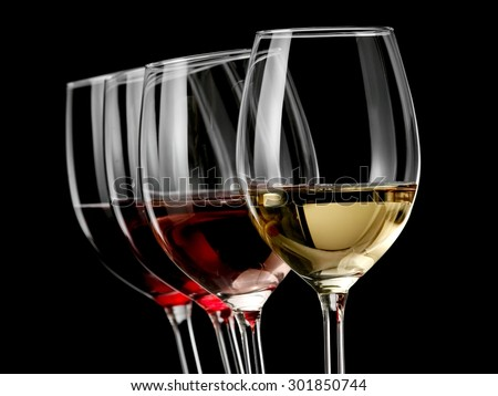 Four wine glasses on black background