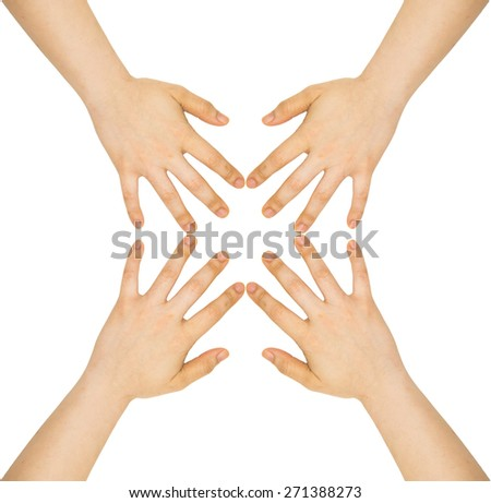 Four woman hands on white backgrounds