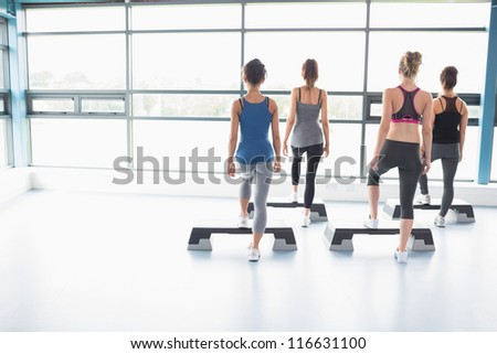 Four women stepping on boards in gym - stock photo