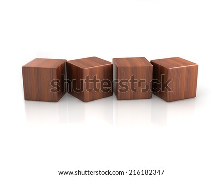 four wood cubes on white background