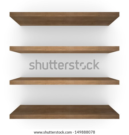 Four wood shelfs. Isolated render on white background - stock photo