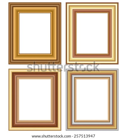 Four wooden carved frames isolated on white background