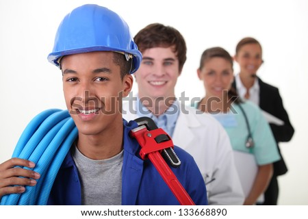 Four workers with different professions - stock photo