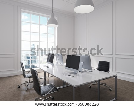 Four workplaces arranged in pairs symmetrically with computers only on them, lamps above. Four leather chairs around the table. New York view in the window. Concept of information gathering.