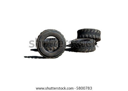 Four worn out tires isolated on white