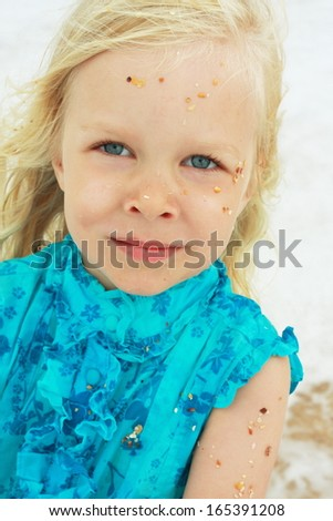Four-years-old girl summer portrait - stock photo