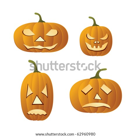 Four yellow halloween pumpkins on white background, isolated