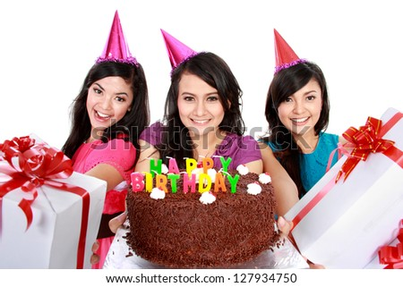 four young beautiful girls celebrate birthday isolated over white background - stock photo