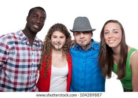 Four young people with different races isolated over white.
