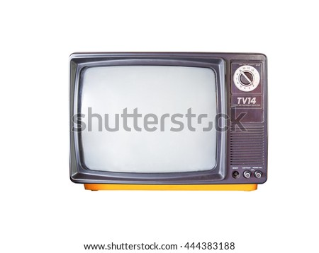 fourteen inches black and white television, vintage analog tuner and receiver TV