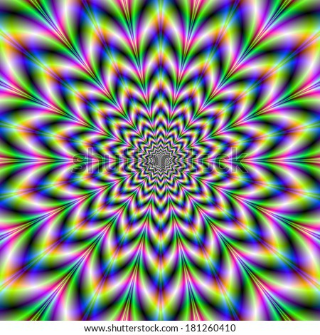 Fourteen Pointed Pulse / Digital abstract fractal image with a fourteen pointed rosette design giving and optical illusion of a pulsing movement, in blue green pink and yellow.