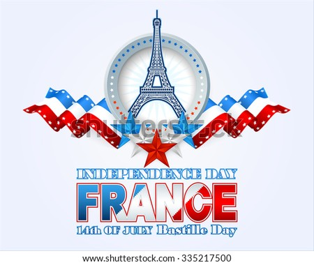 Fourteenth July National Celebration of France; Holidays layout template with blue, white, red national flag colors and shapes of Eiffel tower, background for France Independence Day - stock photo