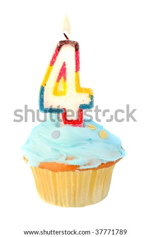 fourth birthday cupcake with blue frosting on a white background - stock photo