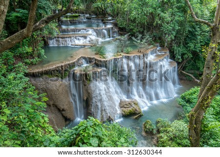Fourth level of Huay Maekamin waterfall; the biggest level of waterfall .  - stock photo