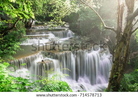 Fourth of Hauy mae khamin waterfall located in deep forest of Kanchanaburi province,Thailand.