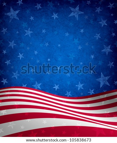 Fourth of July Background with stars and stripes celebration theme with a grunge texture as a symbol of American patriotism and culture in an election voting year.