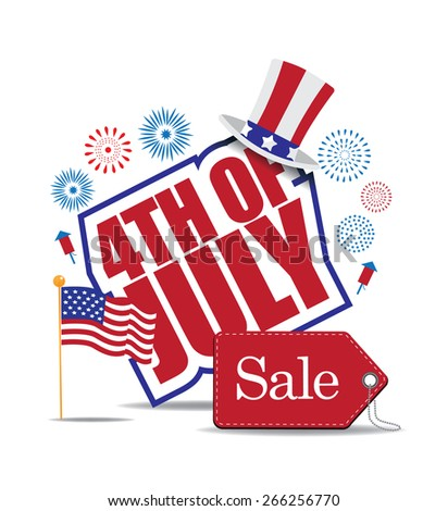 Fourth of July Sale icon royalty free stock illustration for greeting card, ad, promotion, poster, flier, blog, article, ad, marketing, retail shop, brochure, signage
