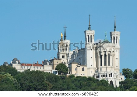 Fourviere basilica seen from bellecour square in Lyon - stock photo