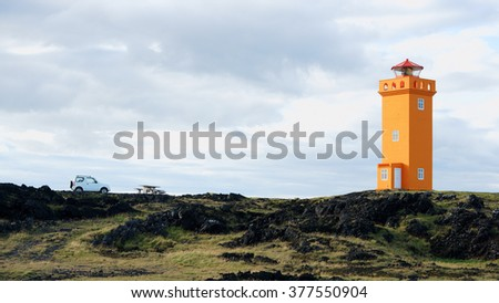 Fourwhell drive to orange lighthouse in Snaefellsnes, Iceland