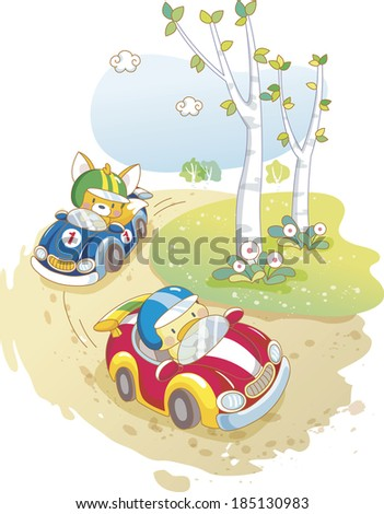 Fox and chick riding car