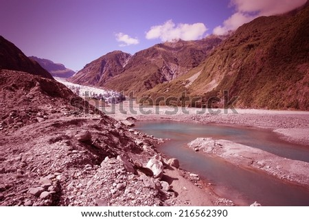 Fox Glacier, New Zealand. Westland National Park. Southern Alps mountains. - stock photo