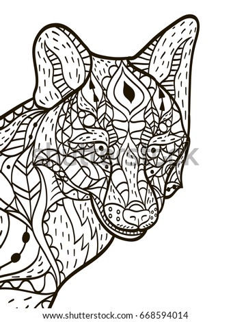 Fox Head Animal Coloring Book For Adults Raster Illustration Anti Stress Adult