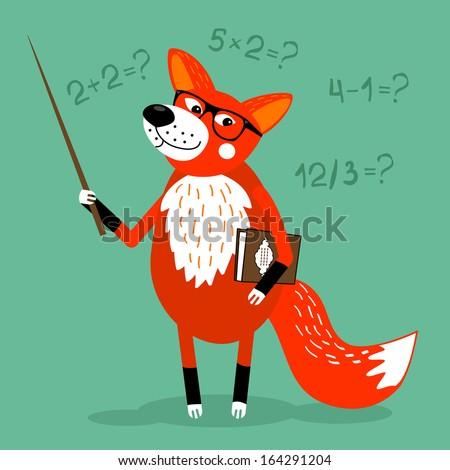 Fox teacher children education school illustration - stock photo