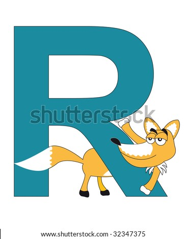 fox with the letter R - stock photo