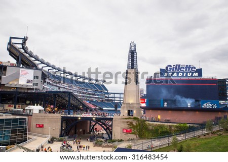 FOXBORO, MASSACHUSETTS - SEPTEMBER 12, 2015:  View of Gillette Stadium, home of the New England Patriots, prior to  the One Direction concert.  - stock photo