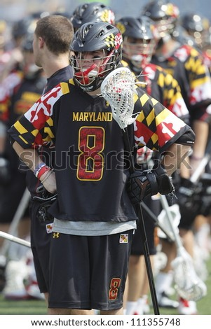 FOXBOROUGH - 28 MAY: Pat Morrison (8), Maryland, College Park, after their loss to Loyola 9-3 at the NCAA Men's Division 1 Lacrosse Championship game in Foxborough, Massachusetts, 28 May 2012.