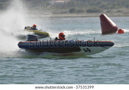 FOZ DO ARELHO, PORTUGAL  - SEPTEMBER 20: LUIS CARLOS GUERRA  of the PORTUGAL Participates in the Grand Prix de Portugal Speedboat - Foz do Arelho in September 20, 2009 in Foz do Arelho in Portugal - stock photo