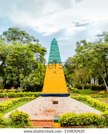 FOZ DO IGUACU, PARANA/BRAZIL - MARCH 10: The Triple Frontier landmark which marks junction of Paraguay, Argentina, and Brazil on March 10, 2013 in Foz do Iguacu.