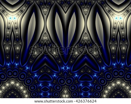 Fractal artwork for creative design. Abstract blue technology background. Digital abstract illustration. - stock photo