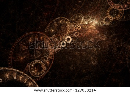 Fractal background of abstract cogs and gears - stock photo