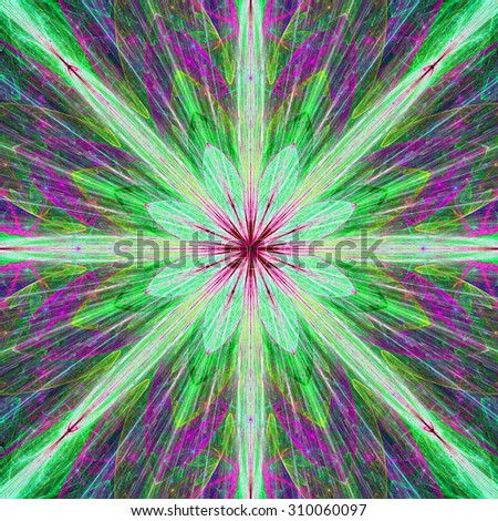Fractal background with a large flower (star) with large beams in high resolution and dark vivid glowing bright pink,purple,green