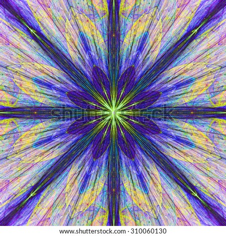 Fractal background with a large flower (star) with large beams in high resolution and dark vivid glowing purple,pink,yellow,green