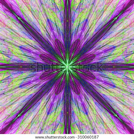 Fractal background with a large flower (star) with large beams in high resolution and dark vivid glowing pink,purple,green