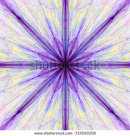 Fractal background with a large flower (star) with large beams in high resolution and pastel purple,pink,yellow