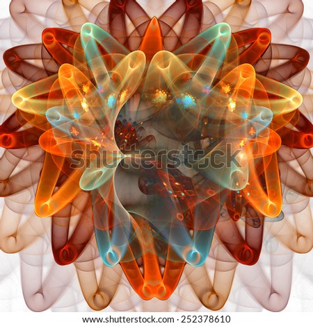 Fractal background with abstract ribbon shapes.  High detailed image. - stock photo